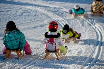 children's toboggan run winter holiday Paznaun Valley