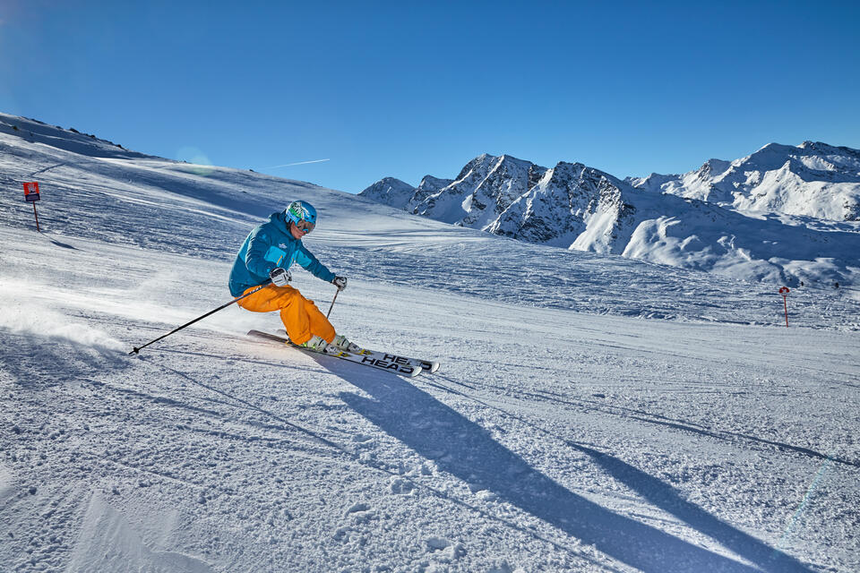 skiing on a winter holiday in the Paznaun Valley